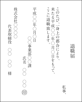 退職届本文(縦書き)