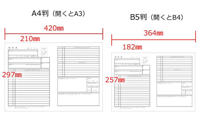 履歴書用紙のサイズは、A4・B5どちらでも大丈夫